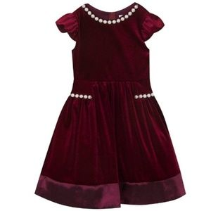 Rare Edition Red Velvet Girls Dress With Pearl 12M
